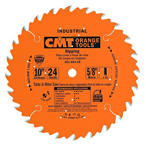 Industrial Saw - CMT 201.024.10 Industrial Ripping Saw Blade, 10-Inch. x 24 Teeth FTG Grind with 5/8-Inch. Bore, PTFE Coating