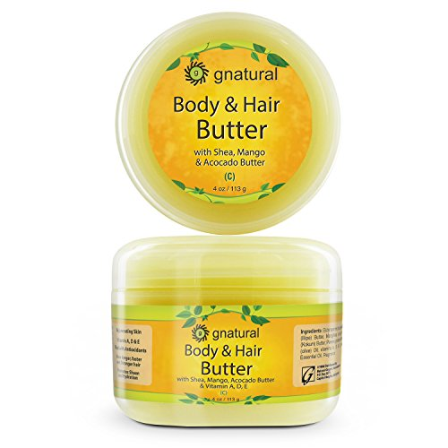 Gnatural Body and Hair Butter with Pure Shea butter, Jojoba oil, Vitamins A, D & E - Dry Skin Moisturizer - Remove Flaking & Dullness from Skin – Nourishing Hair & Scalp - Pure Natural Ingredients 4oz