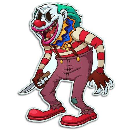 Evil Clown Killer Vinyl Sticker - Car Window Bumper Laptop - SELECT SIZE