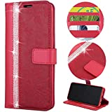 Stysen Wallet Case for Galaxy S6,Glitter Leather Case for Galaxy S6,Glitter Small Flower Design Stitching Color Diamond Flip Case Cover for Samsung Galaxy S6-Red