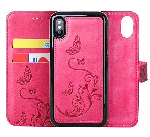 (iPhone Xs/iPhone X Wallet Case with 2 in 1 Detachable Slim Case, Women's Embossed Flower Butterfly Pattern Vegan Leather Case, 2 ID Credit Card Pocket, Wrist Strap, Flip Folio, PU Leather - Hot Pink)