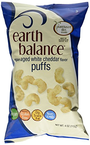 Earth Balance Gluten Free Vegan Aged White Cheddar Puffs 4 Oz (3 Pack) by Earth Balance