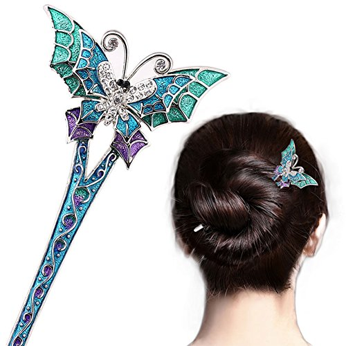 (LiveZone Fashion Hair Decor Chinese Traditional Style Women Girls Hair Stick Pin Fork Hairpin Hair Making Accessory with)