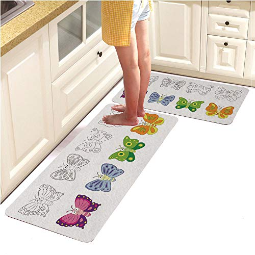 Page Pebbles Alphabet (Rugs Runner Rug -Non Skid Carpet Entry Rugs Runners for Kitchen and Entryway,Coloring Book Page for Preschool Children with Colorful butterfl1 (18