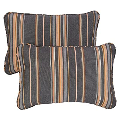 Mozaic Company AZPS6932 Indoor Outdoor Sunbrella Lumbar Pillows with Corded Edges, Set of 2, 12 x 18, Grey & Orange Stripes - Color:  Grey/ Orange Stripe Materials: Acrylic fabric, filled with 100% recycled polyester fiber Weather, mildew, fade and stain resistant with UV protection - patio, outdoor-throw-pillows, outdoor-decor - 51tTEACWe0L. SS400  -