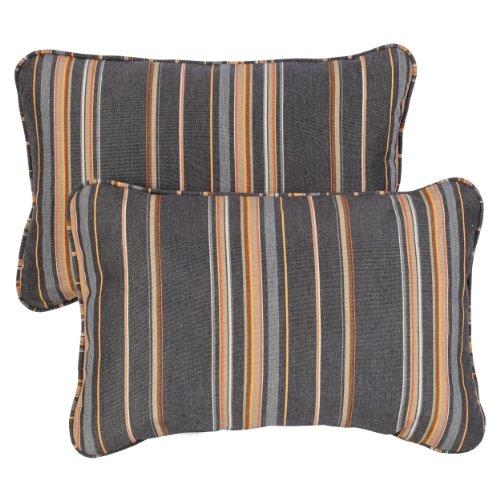 ella Indoor/ Outdoor 13 by 20-inch Corded Pillow, Stanton Greystone, Set of 2 ()