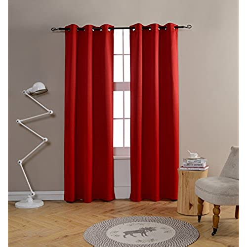 Mysky Home Grommet Top Thermal Insulated Window Blackout Curtains For Dining  Room, 42 By 84 Inch, Red (1 Panel)