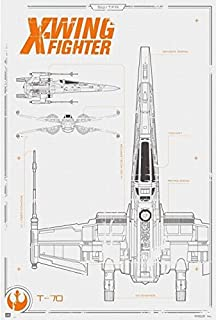 Amazon bundle 2 items star wars episode 7 millenium falcon star wars the force awakens x wing fighter blueprint 24x36 poster malvernweather Choice Image