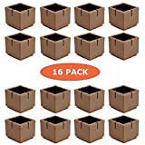 Square Chair Leg Caps for Hardwood Floors Chair Leg Floor Protectors, WarmHut 16pcs Brown Silicone Table Furniture Leg Feet Tips Covers Caps, Felt Pads, Prevent Scratches, Wood Floor Protector (Square)(Brown)