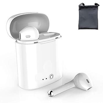 Auriculares Bluetooth con micrófono Integrado, Dos Auriculares y Caja de Carga, Compatible con Samsung Galaxy S7 S8 y Android, teléfono Inteligente iOS: ...