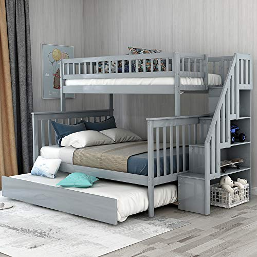 Solid Wood Twin Over Full Bunk Beds with Storage Drawers, Bunk Beds for Kids with Ladder and Guard Rail Gray Bunk Bed with Trundle