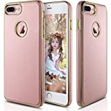 iPhone 7 Plus Case, LOHASIC [Premium Texture Leather] Ultra Slim Fit Cover with Electroplate Frame [Excellent Grip] Extreme Protective TPU Bumper Soft Case for iPhone 7 Plus 5.5 inch - [Rose Gold]
