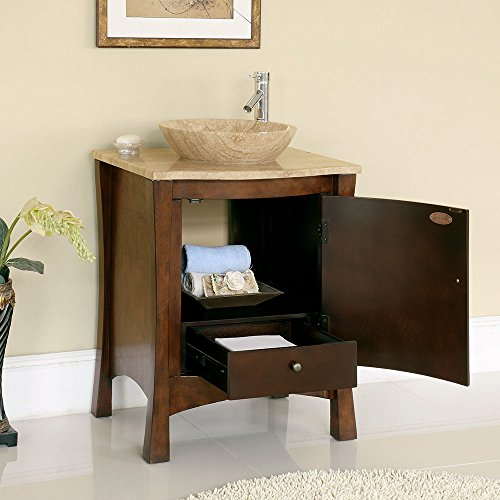 26'' Bathroom Furniture Travertine Top Double Sink Vanity Cabinet 714T by Silkroad Exclusive (Image #1)