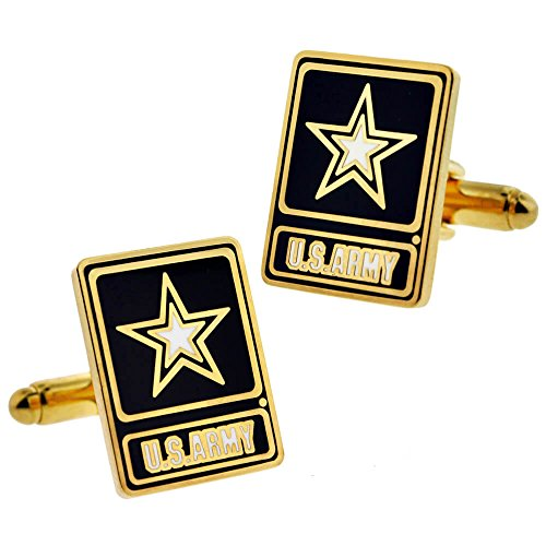 Army Set Cufflinks - PinMart's US Army Star Logo Square Military Enamel Cufflink Set