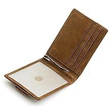 RFID Blocking Bifold Ultra Slim Leather Thin Pocket Wallets for Men Money Clip