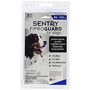 Sergeants Pet Care Prod 3 Count Sentry Fiproguard Dog Flea and Tick Squeeze-On Drop, 89-132 lb. 91