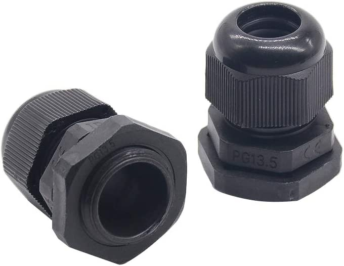 Black Meijunter 25 Pcs M10 Cable Glands Waterproof Cable Connectors 3-6mm Adjustable Plastic Cable Gland Joints with Gaskets