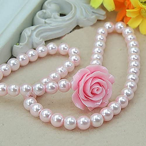 Merssavo Kids Girls Child Pearl Flower Shape Necklace Bracelet Ring Ear Clips Set Jewelry Pink Rose Pink Pearls