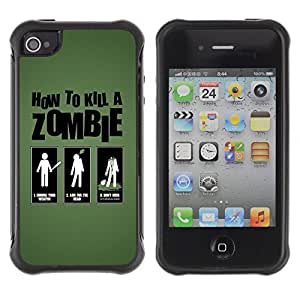 Hybrid Anti-Shock Defend Case for Apple iPhone 4 4S / How To Kill Zombies