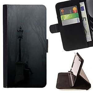 """For Samsung Galaxy J1 J100,S-type Lámpara Niebla Parque Cementerio de Otoño"""" - Dibujo PU billetera de cuero Funda Case Caso de la piel de la bolsa protectora"""