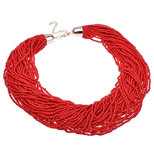 Fashion Multilayer Seed Bead Chain Choker Collar Cluster Strand Handmade Bib Statement Necklace (Red)