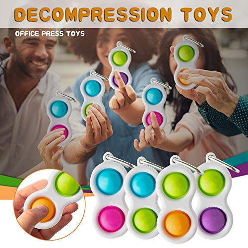 FINEjuyudd Baby Simple Fidget Toys Pack - Hand Dimple Keychain Stress Relief Toy for Kids Toddler - Mini Push Pop Bubble Figetget Sensory Therapy Toys Set for Outdoor Home Party Favors Office
