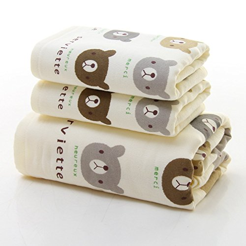 Minibear Soft 100% Combed Cotton Bath Face Hand Towel Gift Set 3-Piece