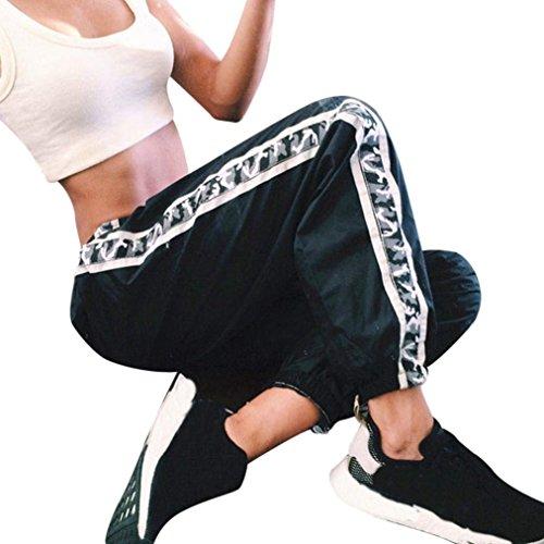 Pantaloni Nero Cucitura Ragazze Libero Pantaloni Leggero Giovane Pantaloni Tuta Elastica Primaverile Eleganti Moda Outdoor Cintura Training Pantaloni Tempo Estivi Camuffare Nero Donna Sportivi xnBvqA0