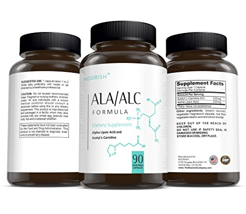 Acetyl L Carnitine with Alpha Lipoic Acid ALA ALC ALCAR Alpha Lipoic Acid with Acetyl L Carnitine 525 mg ALCAR 225 mg ALA 90 capsules