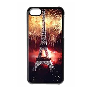 IPhone 5C Cases Eiffel Tower And Fireworks For Women Protective, Iphone 5c Case For Men Cheap For Women Protective [Black]