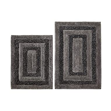 Cotton Craft - 2 Piece Bath Rug Set - Tweed Race Track - Grey Black - 100% Pure Cotton with Spray Latex Back - High Quality and absorbent - Super Soft and Plush - Hand Tufted Heavy Weight Durable Construction - Larger Rug is 21x32 Oblong and Second Rug is Oblong 18x24 - Other Styles available - New Scroll, Greek Key, Palm Tree, Grid Stripe, Reversible Race Track, Pebble and Solid Reversible - Easy care machine wash