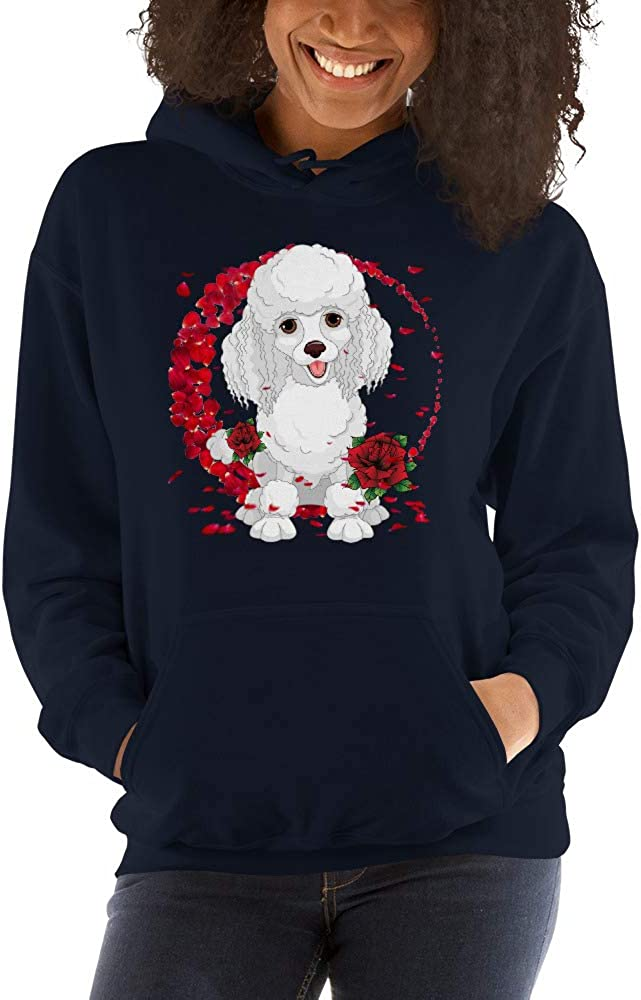 TEEPOMY Poodle with Rose Falling Cute Valentines Day Unisex Hoodie