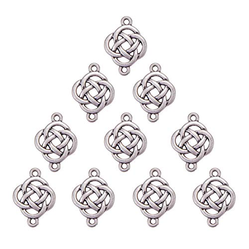 Charm Pendant Boxes Silver Jewelry (SUNNYCLUE 1 Box 10pcs Celtic Shield Knot Lucky Charms Pendants 25x18x2.5mm Reversible Jewelry Necklace Making Findings, Thai Sterling Silver Plated, Matte Silver)