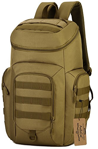 ArcEnCiel Military Tactical Backpack Army Day Assault Pack Molle Bug Out Bag Backpacks Rucksacks for Outdoor Hiking Camping Trekking Hunting (Coyote Brown)