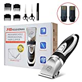 PetGedd Professional Dog Clippers - Rechargeable, Cordless Pet Grooming Clippers & Complete Set of Dog Grooming Tools. Low Noise & Suitable for Dogs, Cats and Other Pets (Black + Silver)