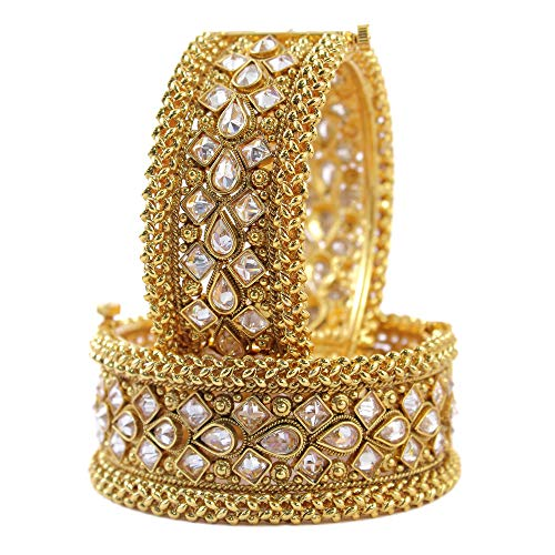 MUCH-MORE Gorgeous Bollywood Style Gold Tone Indian Polki Bangles Traditional Jewellry for Women (239, 2.4) (Kundan Jewelry)