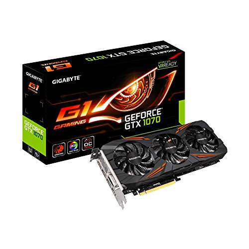 Gigabyte GV-N1070G1-GAMING-8GD - Tarjeta grafica NVIDIA GeForce GTX 1070 G1 (8 GB, PCIE 3.0, GDDR5, DisplayPort)