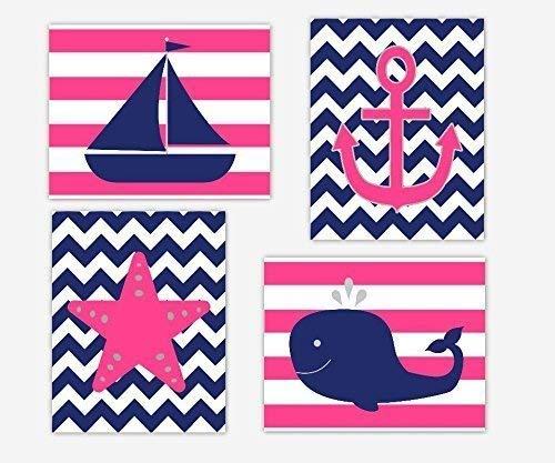 Nautical Baby Girl Nursery Wall Art Pink Navy Blue Sailboat Boat Anchor Starfish Whale Stripes Chevron Bathroom Decor Baby Nursery Decor SET OF 4 UNFRAMED PRINTS