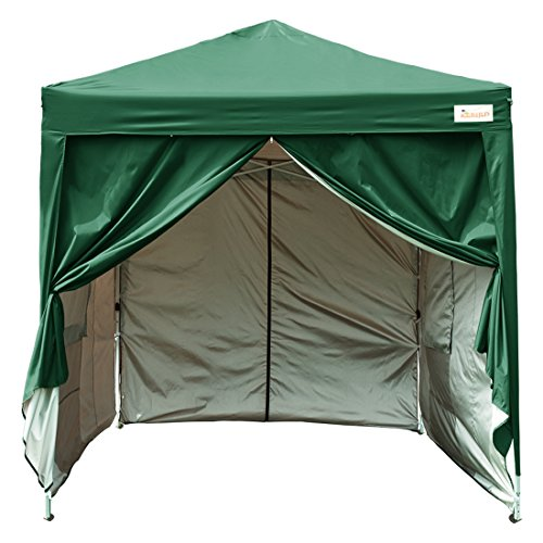 KING BIRD 8x8 ft Easy Pop up Canopy Tent Waterproof Party Tent with 4 Sidewalls & Mesh Windows Green