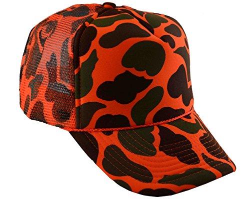 NIS Men's Summer Mesh Trucker Adjustable Cap Camouflage (Neon Orange Camo)