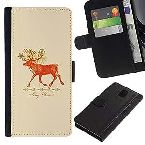 Paccase / Billetera de Cuero Caso del tirón Titular de la tarjeta Carcasa Funda para - Christmas Deer Red Peach - Samsung Galaxy Note 3 III N9000 N9002 N9005