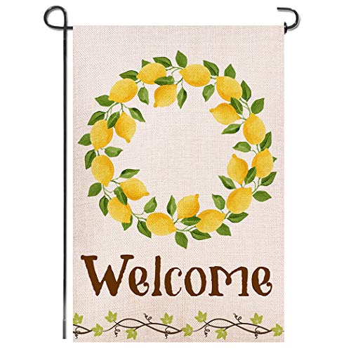 - Shmbada Lemon Summer Welcome Burlap Garden Flag, Premium Material Double Sided, Seasonal Spring Outdoor Decorative Flags for Yard Lawn, 12 x 18 inch