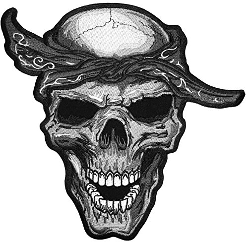 [Large Size] Papapatch Realistic Skull Bandana Head Jacket Vest Costume DIY Embroidered Sew on Iron on Patch (IRON-SKULL-BANDANA-LARGE) ()