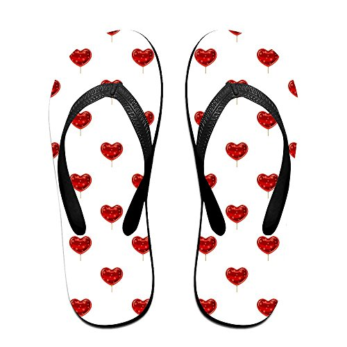 Flip Flops Red Heart Shaped Lollipop Sandal Beach Slippers For Man Woman Teens - Red Heart Lollipops