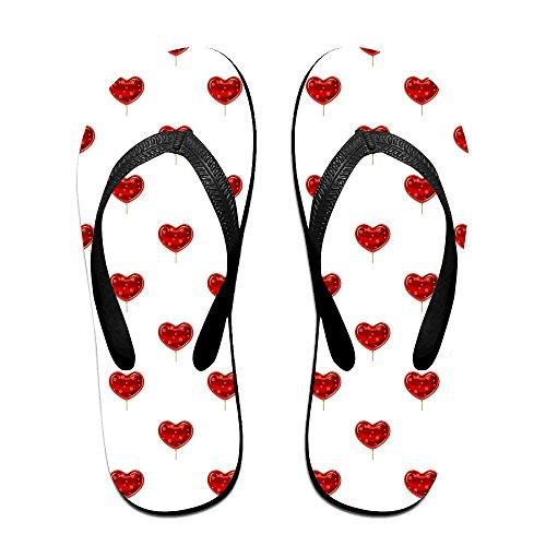 Flip Flops Red Heart Shaped Lollipop Sandal Beach Slippers For Man Woman Teens - Red Heart Lollipops