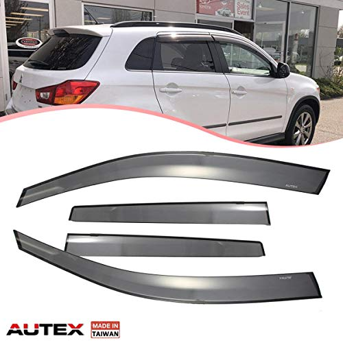 (AUTEX Tape on Window Visor Fits for 2011 2012 2013 2014 2015 2016 2017 2018 Mitsubishi Outlander Side Window Wind Deflector Sun Rain)