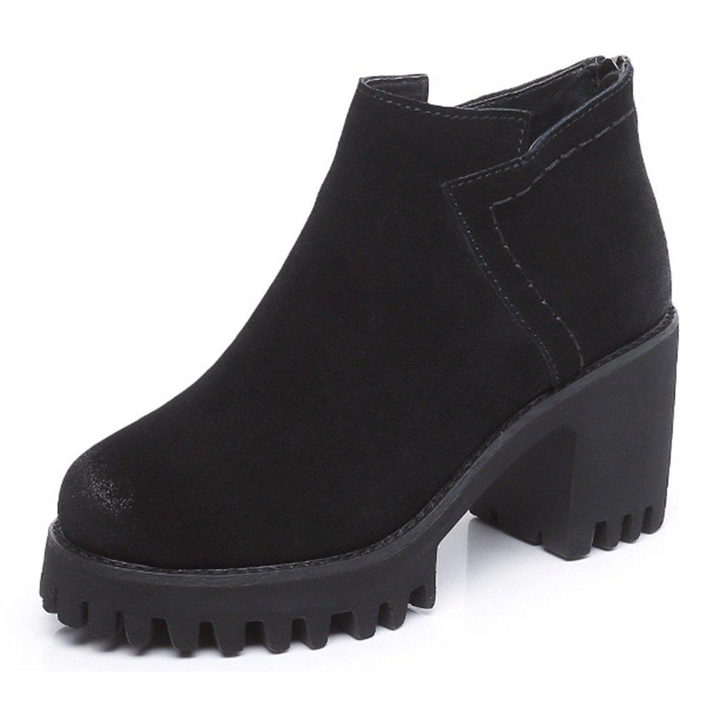 Xianshu Retro Tick bloc B07CMYBHZL talon Martin bottes bottes zip talons talons hauts bottes Noir 3b54ce6 - piero.space