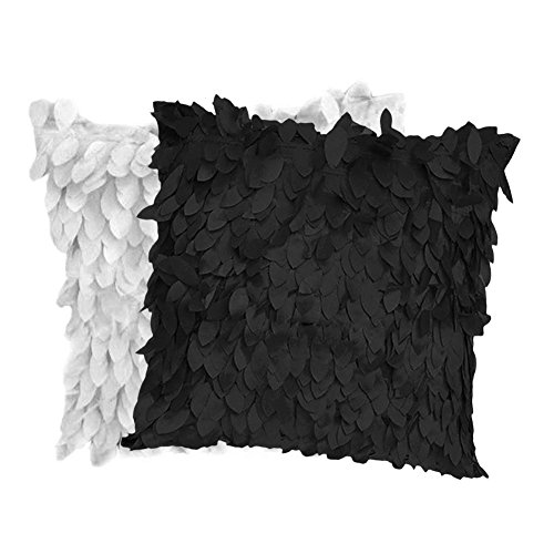 Fallen Leaves Feather Couch Cushion Cover Home Sofa Throw Pillow Case White & Black