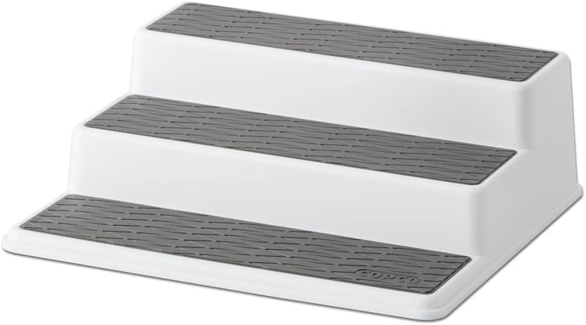 Copco 2555-0189 Non-Skid 3-Tier Spice Pantry Kitchen Cabinet Organizer, 10-Inch, White/Gray: Home & Kitchen