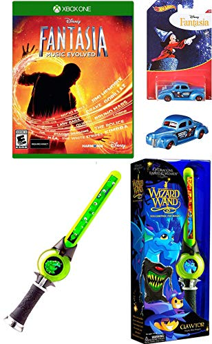 Wizard Mickey Mouse Character Hot Wheels Exclusive Cartoon Vehicle Fantasia Ford Coupe + Video X-Game Box 360 Pack + Green Light up Mystical Dragon Wand Bundle ()